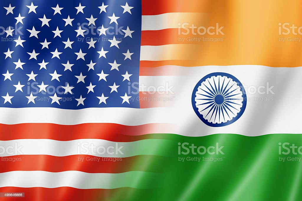 USA and India flag stock photo