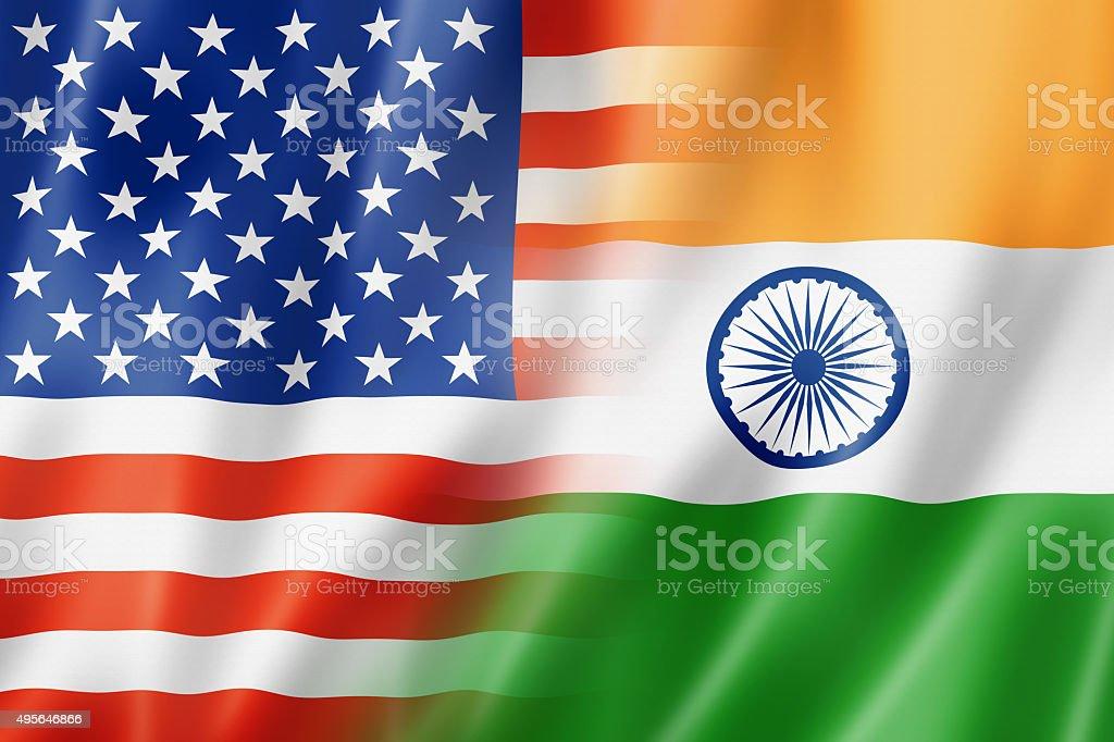 EUA, bandeira e Índia - foto de acervo