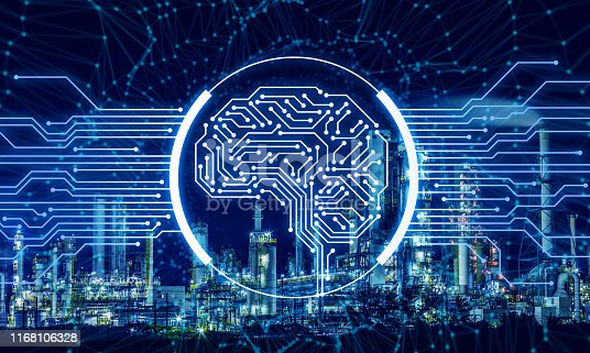 852015986 istock photo AI (Artificial Intelligence) and INDUSTRY 4.0 concept. Electronic circuit. Communication network. 1168106328