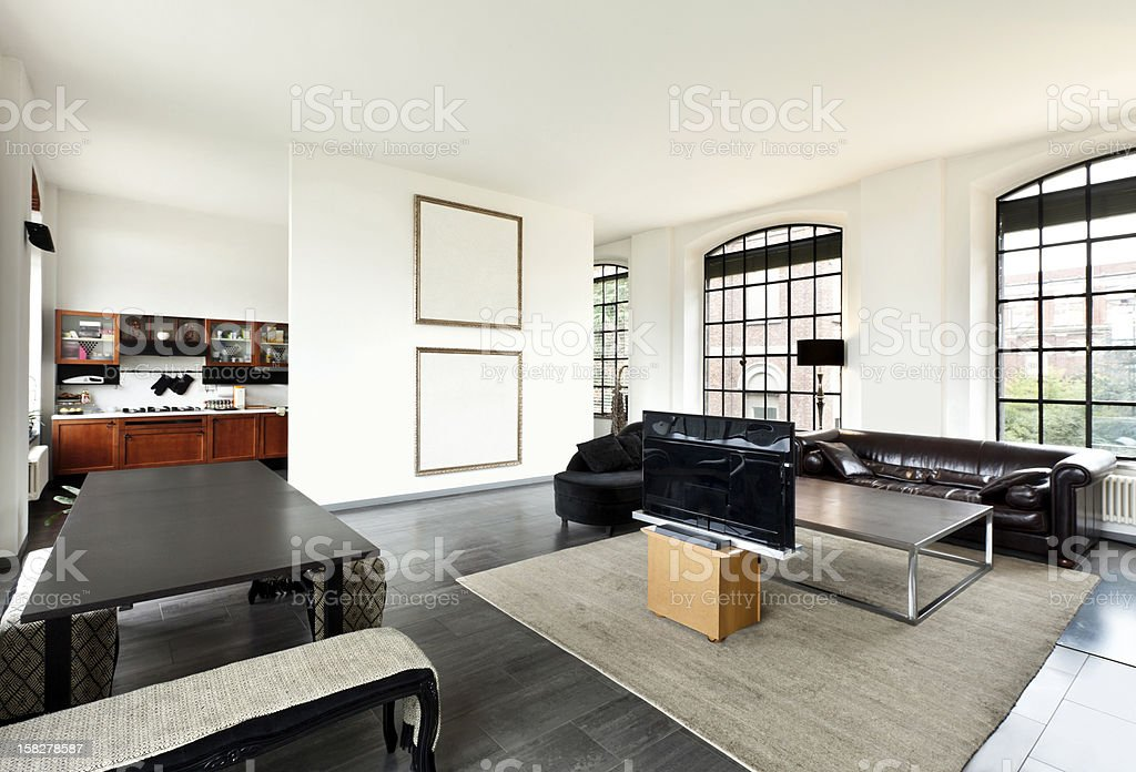 And interior of a living modern room home royalty-free stock photo