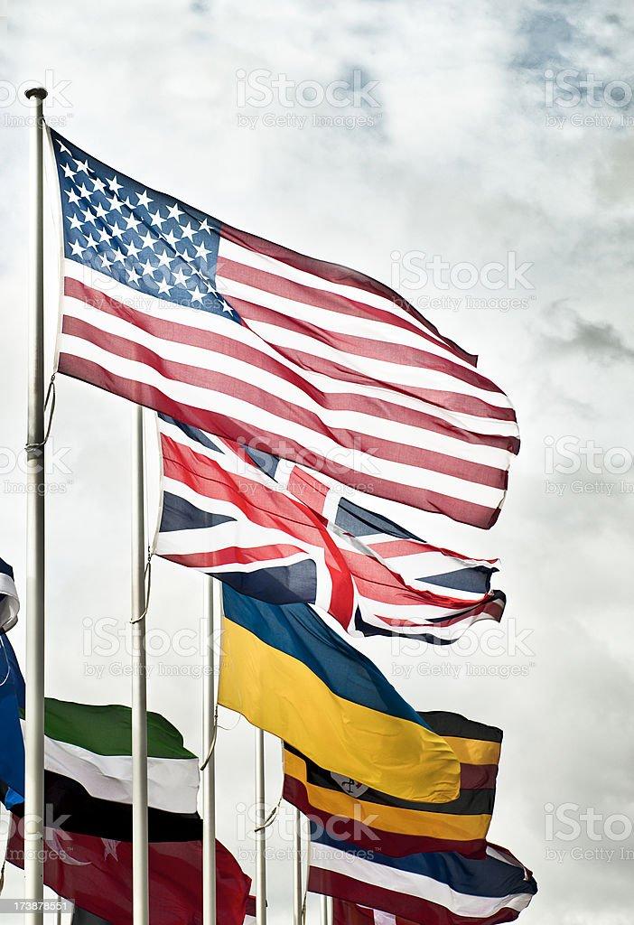 US UK and International Flags royalty-free stock photo