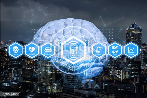 istock AI(Artificial Intelligence) and Internet of Things. Conceptual mixed media. 3D rendering. 875500022