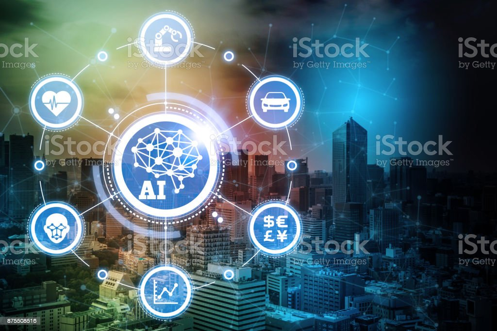 AI(Artificial Intelligence) and Internet of Things. Conceptual mixed media. stock photo