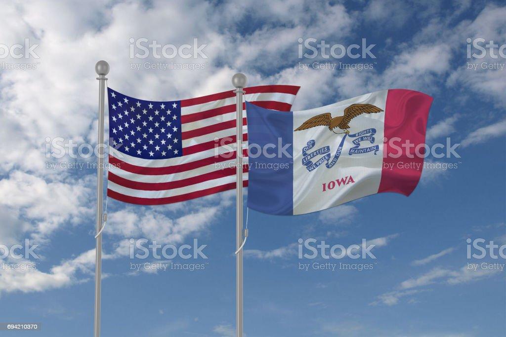 USA and Iowa flag waving in the sky stock photo