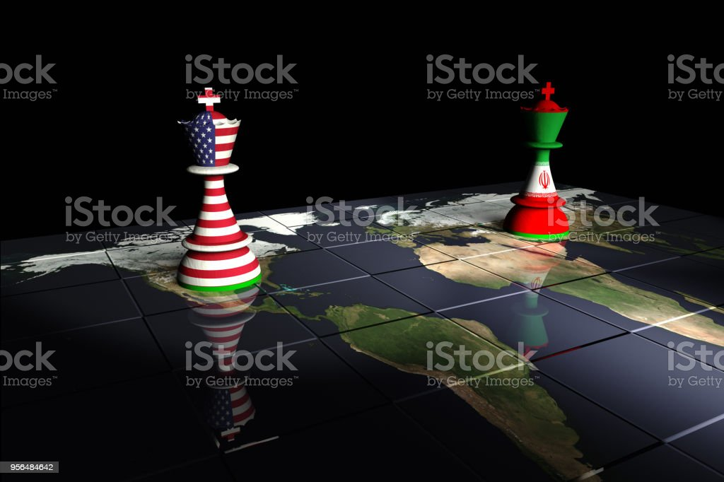 USA and Iran Chess Standoff stock photo