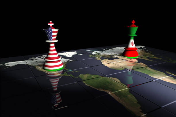 USA and Iran Chess Standoff Render of a chessboard decorated a map of the earth and with pieces decorated with the American and Iranian flags.  The Earth map is a public domain image from NASA's Visible Earth project: https://visibleearth.nasa.gov/view.php?id=73884 theasis stock pictures, royalty-free photos & images