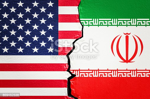istock USA and Iran conflict concept, 3D rendering 859452538