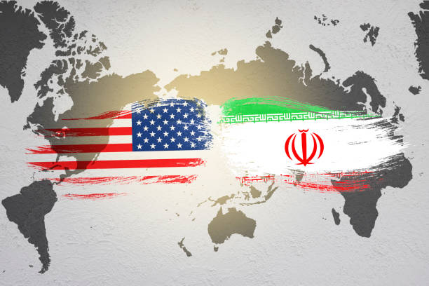 USA and Iran flag on world map. United state of America and Iran have conflict in nuclear weapons and Strait of Hormuz. USA and Iran flag on world map. United state of America and Iran have conflict in nuclear weapons and Strait of Hormuz. sanctions stock pictures, royalty-free photos & images