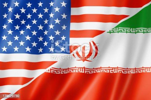 istock USA and Iran flag 179029730