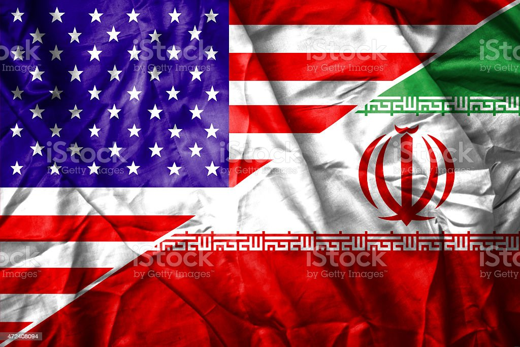 USA and Iran flag stock photo