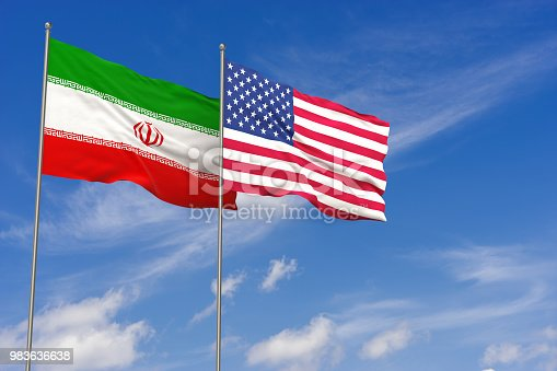 istock USA and Iran flags over blue sky background. 3D illustration 983636638