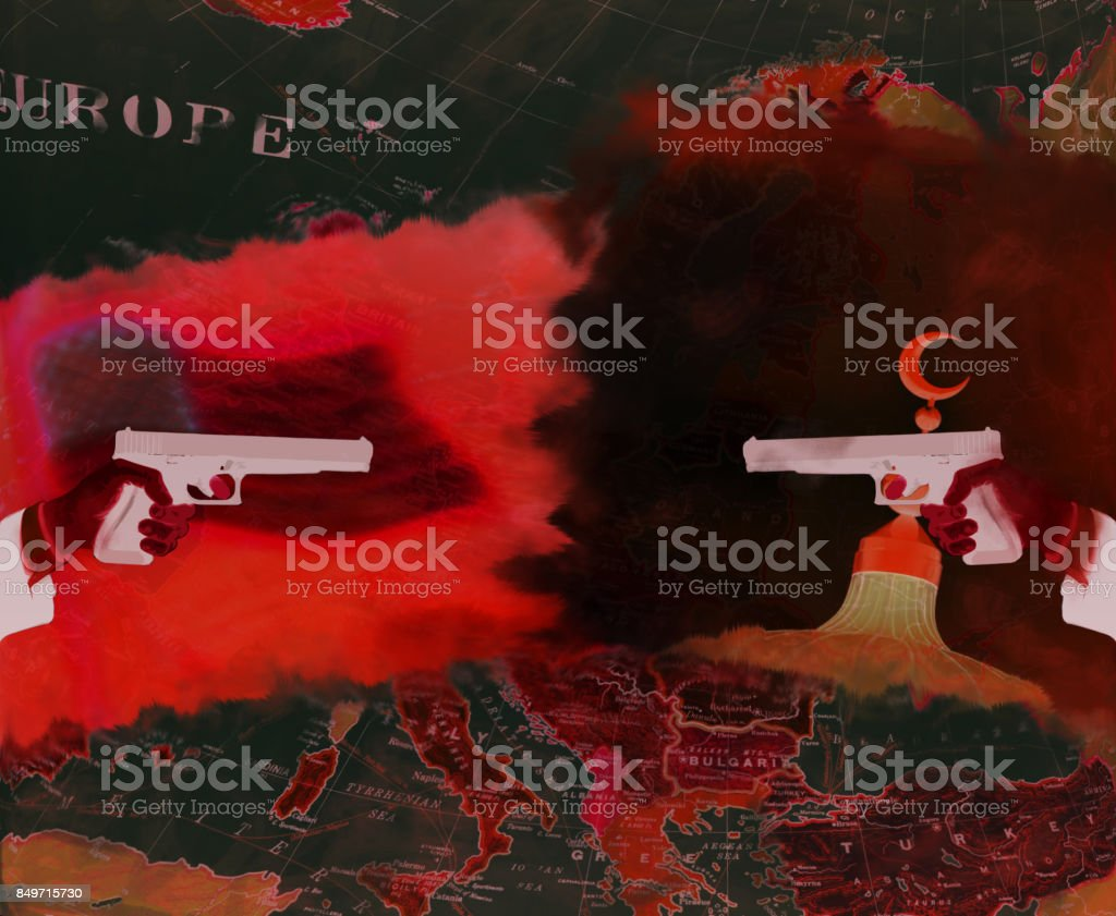 USA and IS war over Europe red (illustration) stock photo