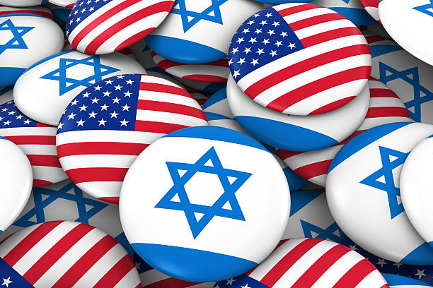 USA and Israel Flag Badges Background stock photo