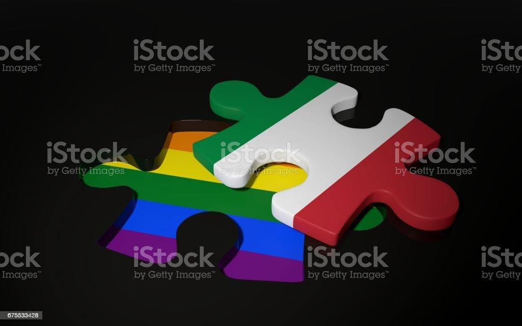 LGBT et drapeau de l'Italie comme une pièce du puzzle. photo libre de droits