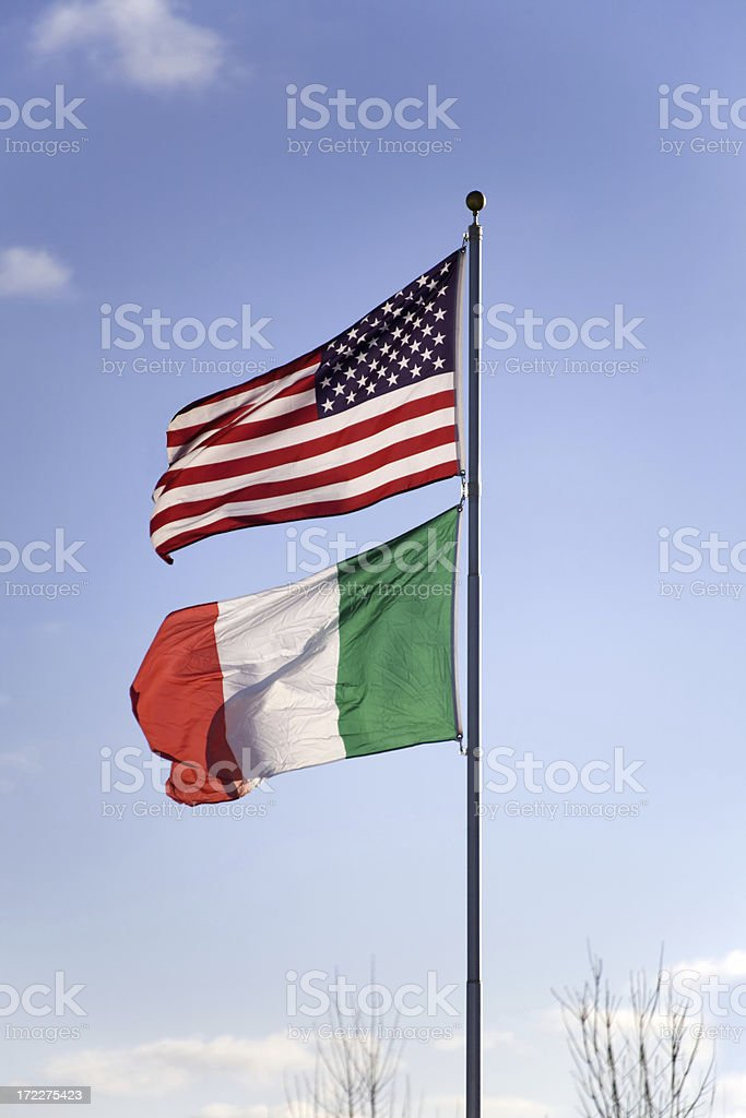 USA and Italy flags royalty-free stock photo