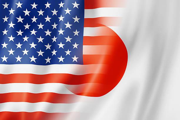 USA and Japan flag stock photo