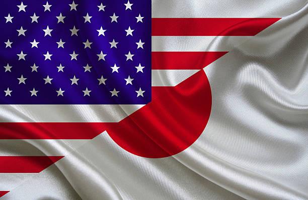 Estados Unidos y la bandera japonesa - foto de stock