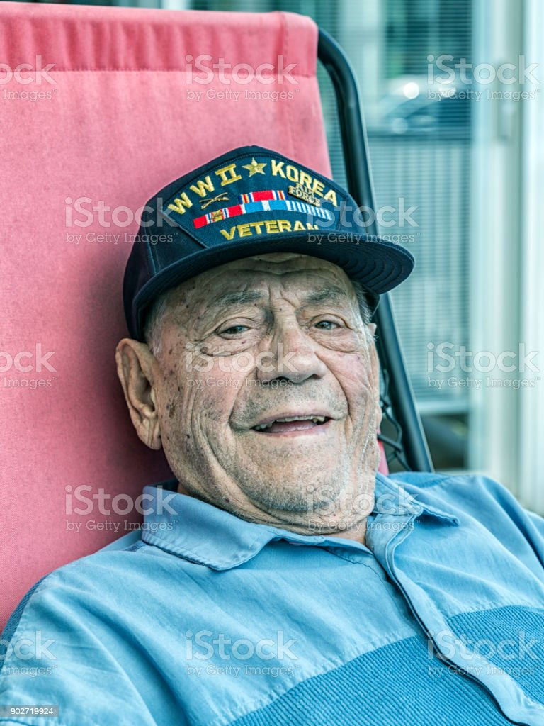 WWII and Korean Conflict Military Veteran Portrait stock photo