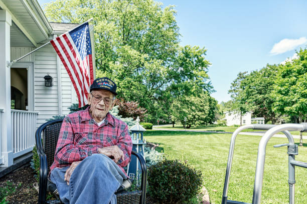 WWII and Korean Conflict USA Military Veteran At Home stock photo