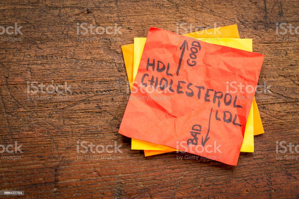 HDL and LDL cholesterol concept stock photo