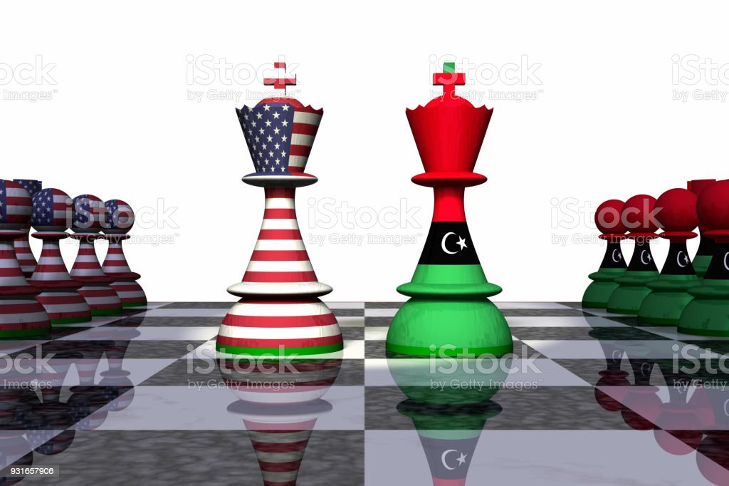 USA and Libya Chess Standoff stock photo