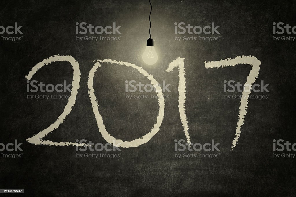 2017 and light bulb foto de stock royalty-free