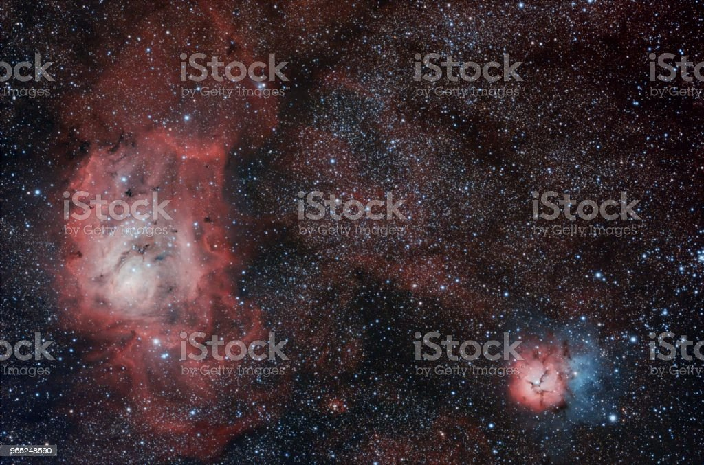 M8 and M20 The Lagoon and Trifid Nebula royalty-free stock photo