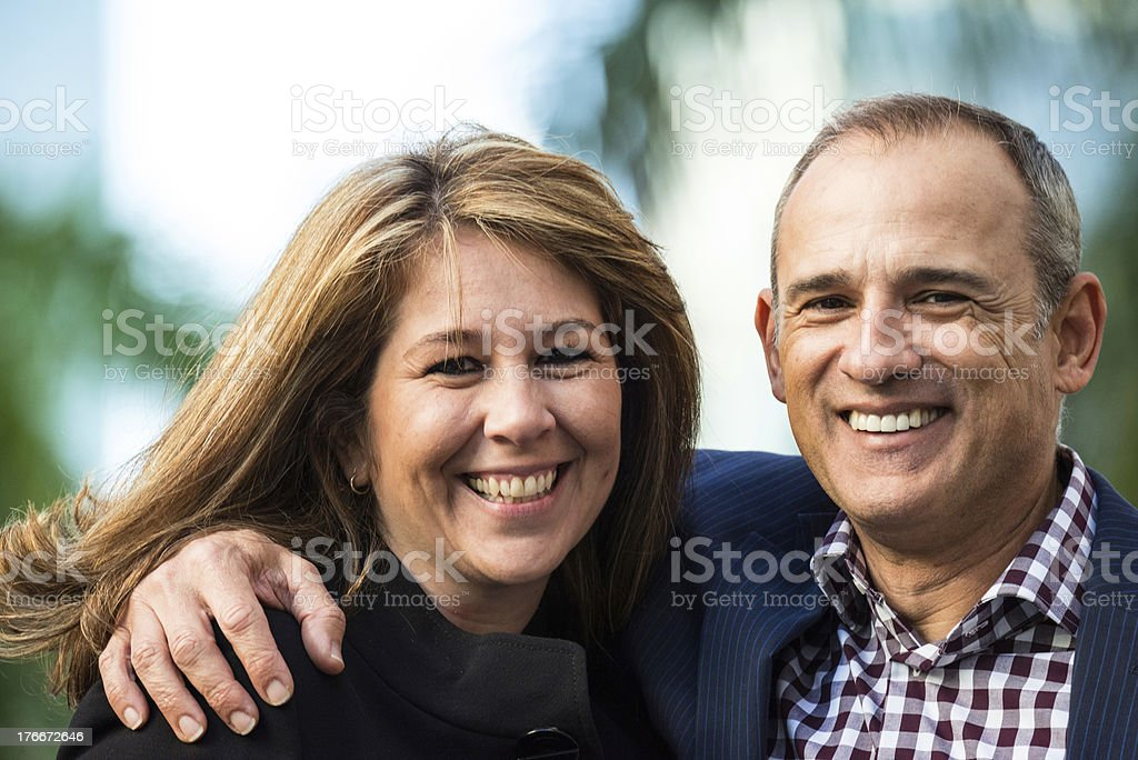 and man and a women smiling beautifully royalty-free stock photo