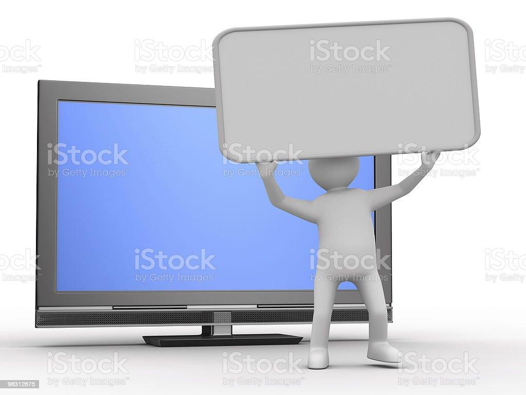 TV e uomo su sfondo bianco. Immagine 3D isolato foto stock royalty-free