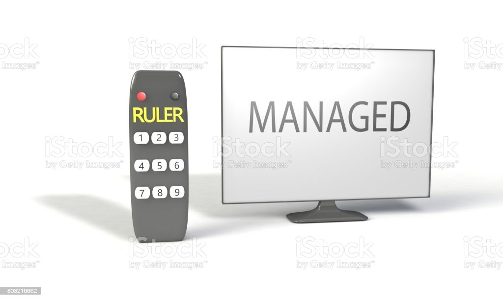 RULER and managed concept, 3d render working stock photo
