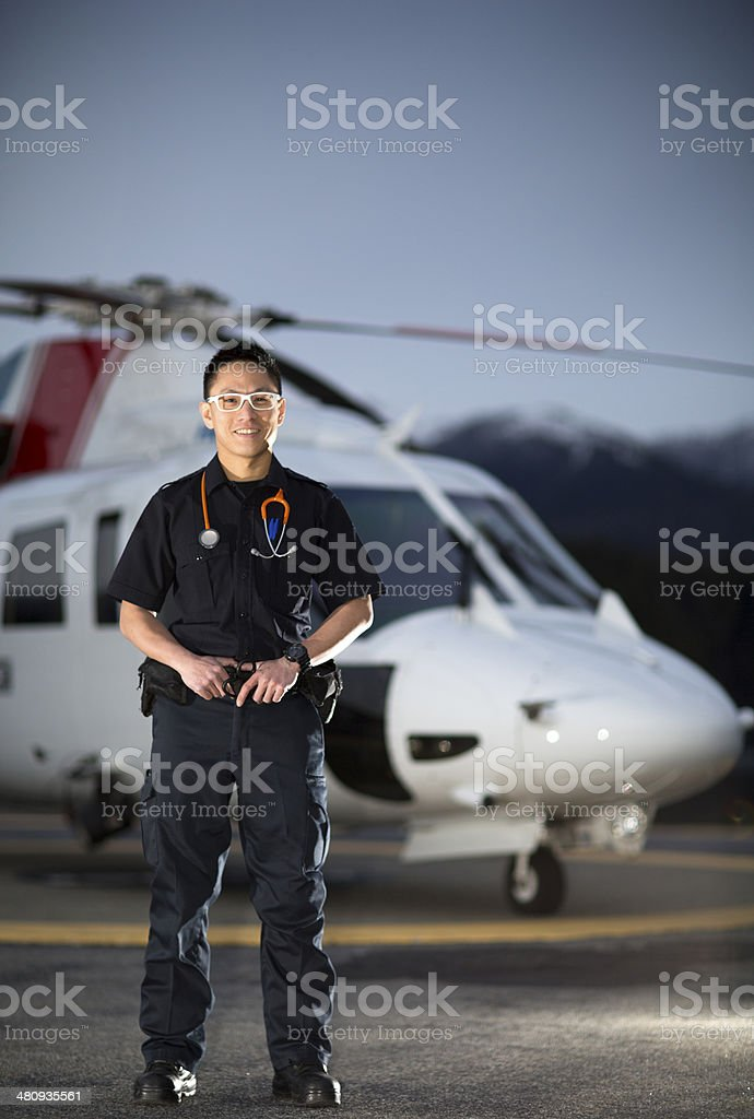 EMT and Medevac Helicopter stock photo