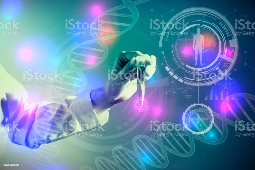 DNA and medical technology concept, biotechnology, gene recombination stock photo