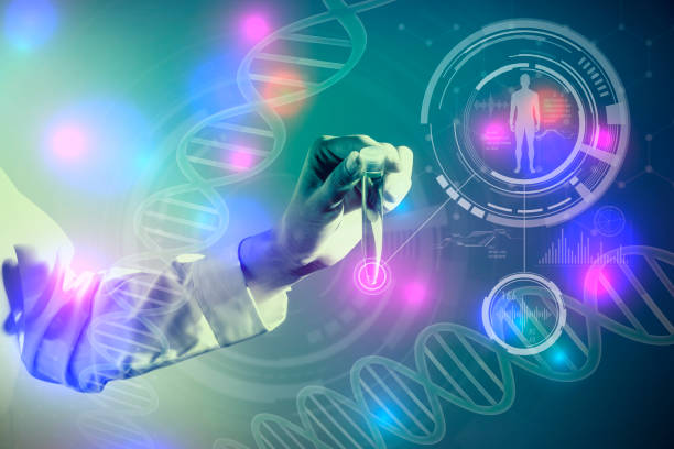 dna and medical technology concept, biotechnology, gene recombination - medical technology стоковые фото и изображения