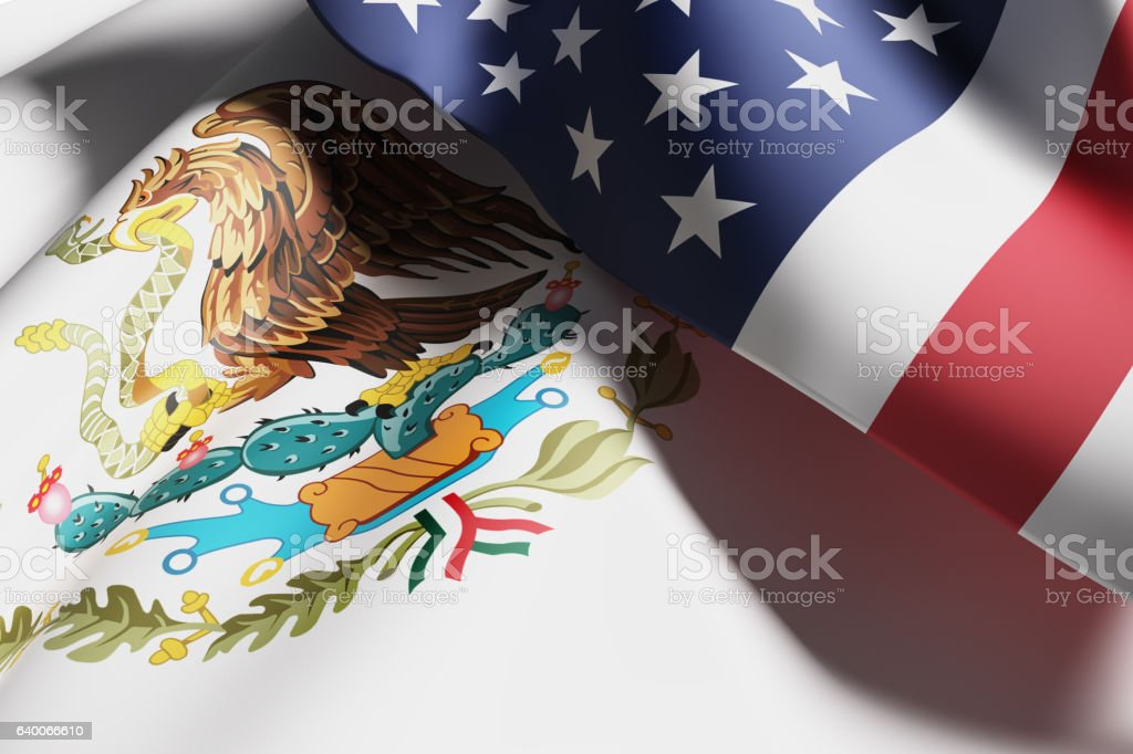 USA and Mexico flags stock photo