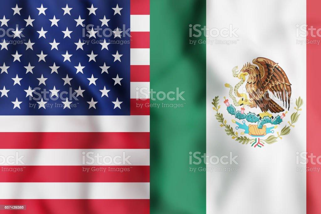 Banderas de Estados Unidos y México - foto de stock