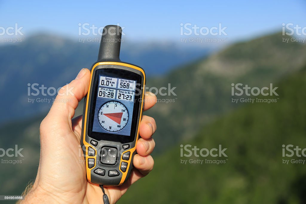GPS and mountains stock photo