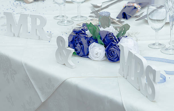 MR and Mrs Table Display stock photo