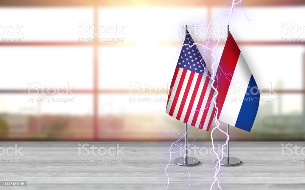 3D USA and dutch flags with metallic pole, standing together on a...