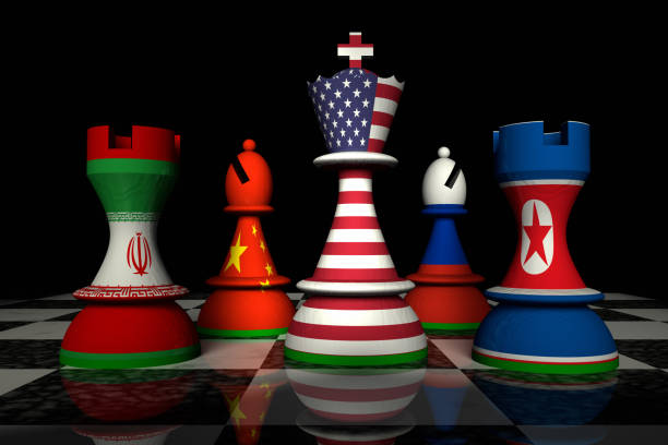USA and North Korea Chess Standoff Render of a chessboard. A king decorated with the USA flag is surrounded by other pieces decorated with flags of Iran, China, Russia and North Korea. theasis stock pictures, royalty-free photos & images