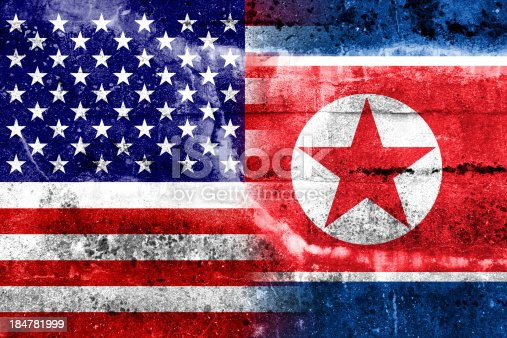 953130996istockphoto USA and North Korea Flag painted on grunge wall 184781999