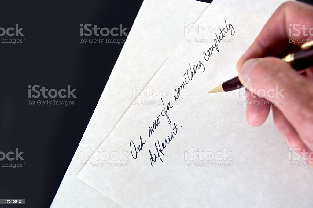 'And now for something completely different' on paper royalty-free stock photo