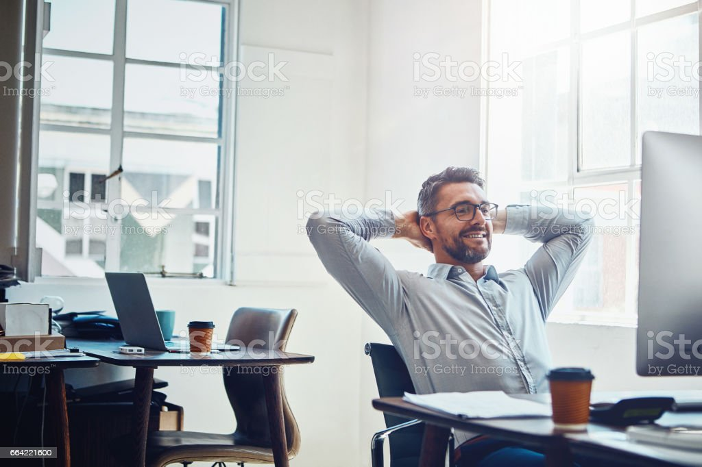 And now we wait for success to do its thing stock photo