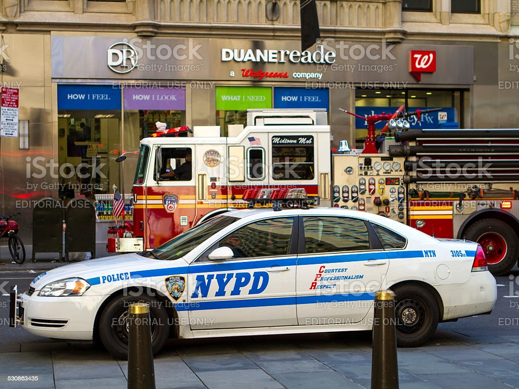 NYPD and NYFD stock photo
