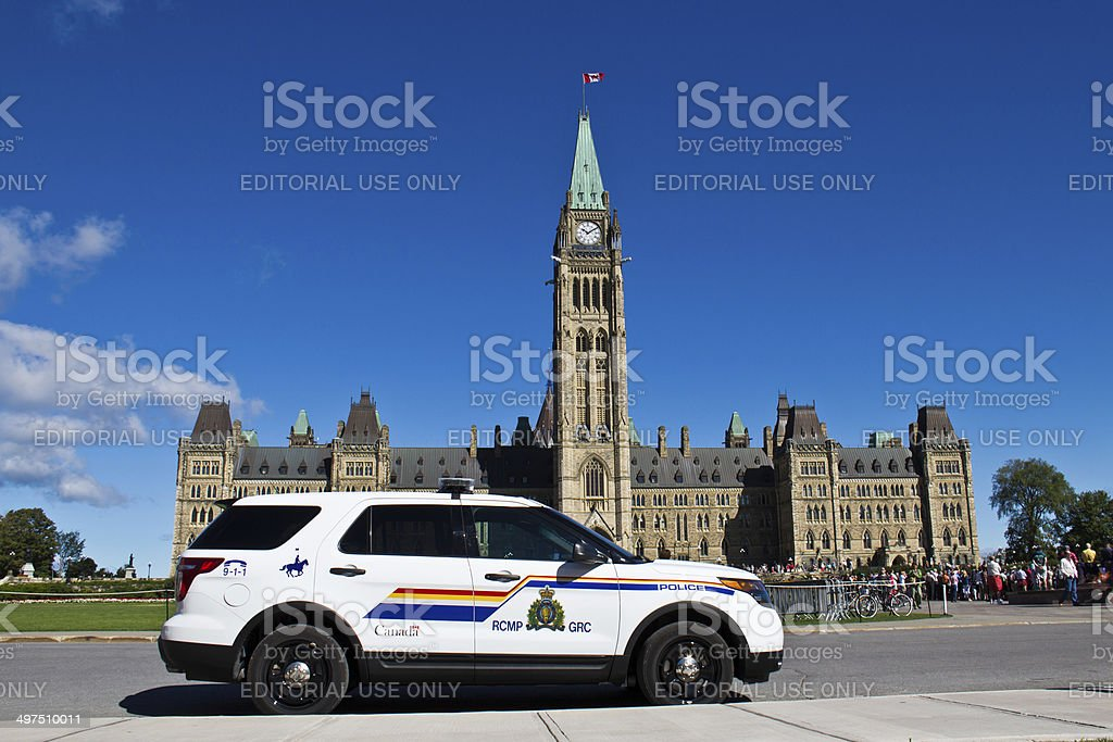 RCMP and Parliament Hill in Ottawa, Canada stock photo