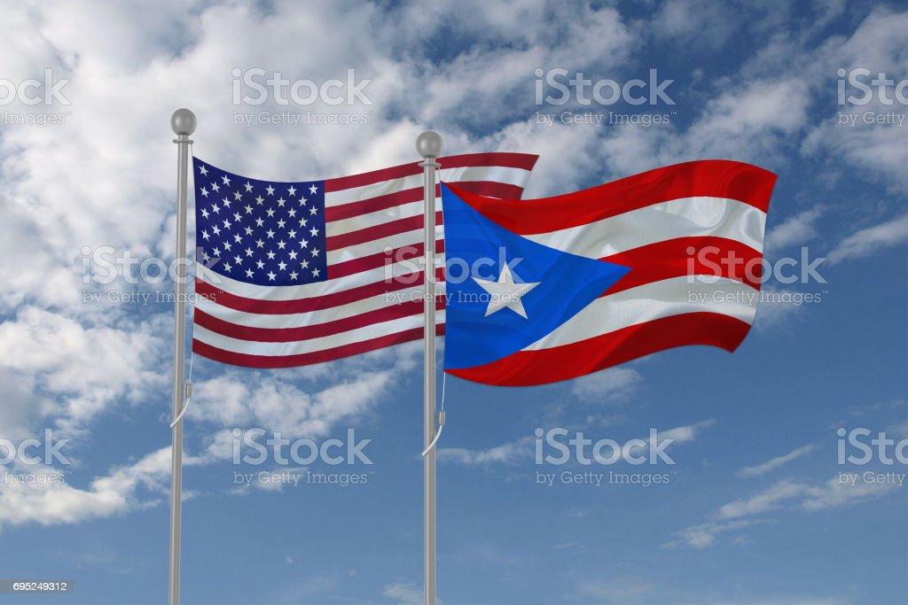Estados Unidos y Puerto Rico bandera ondeando en el cielo - foto de stock
