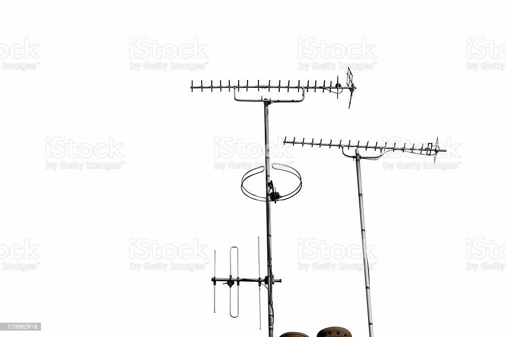 TV and Radio Aerials Isolated on White-Alternatives below stock photo