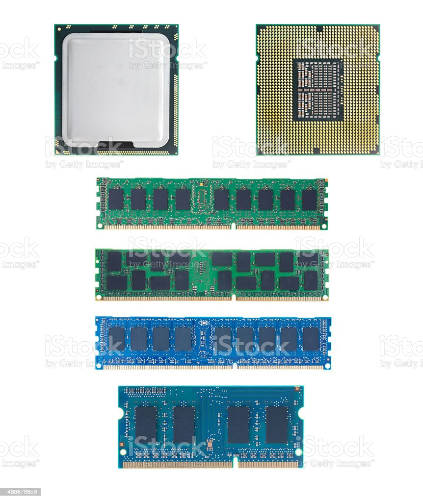 CPU and RAM isolated  set on white background without shadow stock photo
