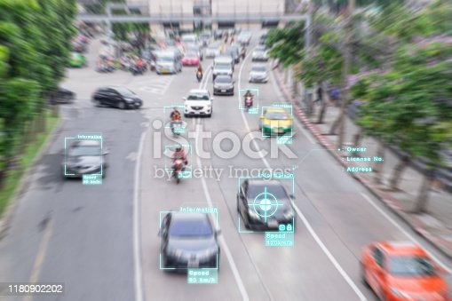 istock AI (artificial intelligence) and recognition cars vehicles in city concept 1180902202