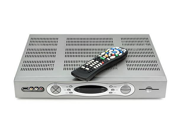 DVR and Remote Control High-definition, DVR, digital video recorder and remote control, isolated on white. cable tv stock pictures, royalty-free photos & images