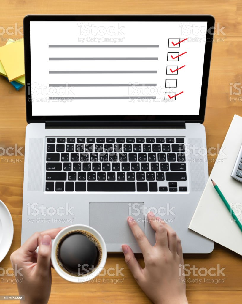 SURVEY and Results Analysis Discovery businessman giving online Concept stock photo